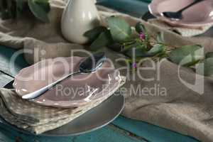 Elegance table setting on table