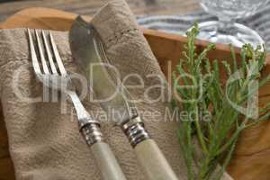 Flora, napkin and cutlery arranged on plate with table cloth