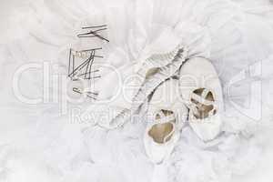 Ballet shoes, skirt, hairpins