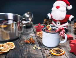 Mulled wine in an iron blue mug