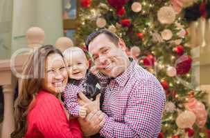 Happy Young Parents with Baby In Front of Decorated Christmas Tr