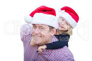 Happy Father and Daughter Wearing Santa Hats Isolated on White B
