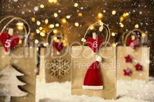 Christmas Shopping Bag, Santa Hat, Snowflakes, Instagram Filter