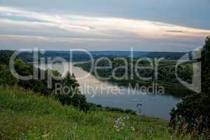 evening on the Oka river in the Tula region