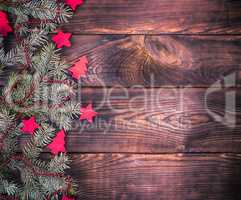 green spruce branch with Christmas decor