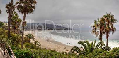 Overcast Summer sky over Main Beach in Laguna Beach