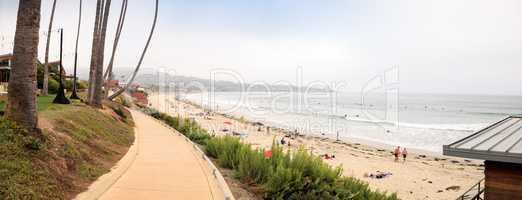 Overcast cloudy day over Scripps pier Beach in La Jolla