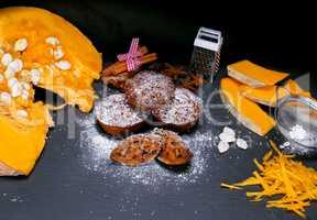 pumpkin muffins and pieces of fresh pumpkin