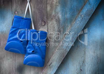 Blue boxing gloves hang on a nail on a wooden shabby wall
