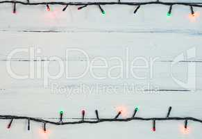 electric Christmas garland with colored small bulbs