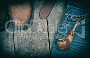 Casual clothing on a wooden background, vintage toning