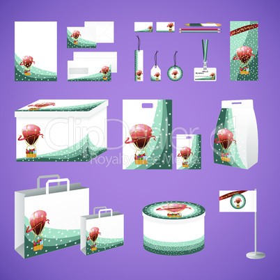 Stationery creative set with hot air baloon