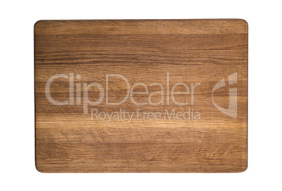 old wooden kitchen cutting board isolated on white background