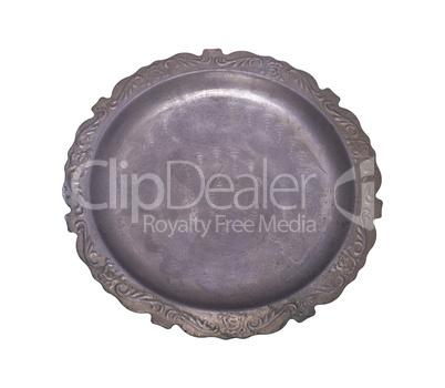 empty round old aluminum dish