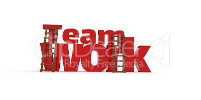 3d concept with the word teamwork