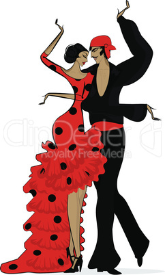 abstract flamenco couple in dark red