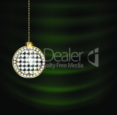 green drape with jewelry Christmas ball