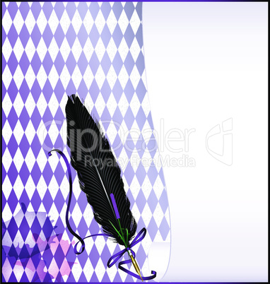 white abstract background with feather pen