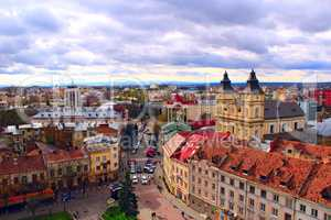 Ivano-Frankivsk from a bird's eye view with dark clouds up