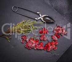 ripe red berries of the viburnum is sprinkled with sugar
