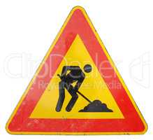 road works sign isolated over white