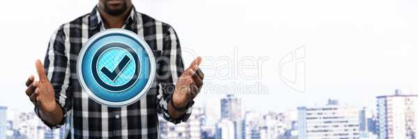 Correct tick mark and Businessman with hands palm open in city
