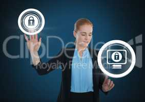 Businesswoman touching security lock icons