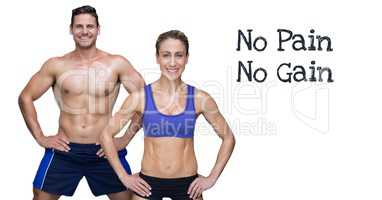 No pain no gain text and fitness couple