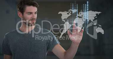 Businessman touching world map technology binary