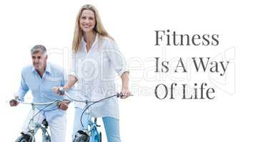 Fitness is a way of life text with couple on bicycles