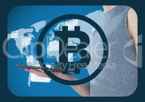 Bitcoin icon and woman holding tablet over world map