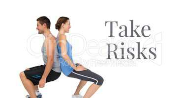 Take risks text and fitness couple