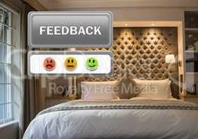 feedback button and smiley satisfaction faces review in accommodation bedroom