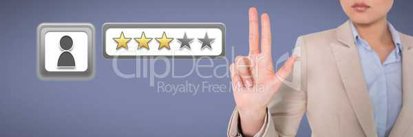 Businesswoman holding three fingers and three star review ratings