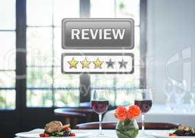 Review button and star ratings in restaurant