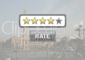 Rating stars and rate button with travel destination background