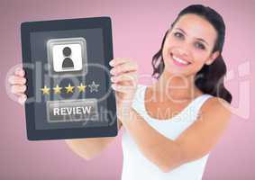 Woman holding tablet with review button and star ratings review