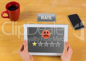 Hand holding tablet with review button and star ratings review with sad smiley face one star review