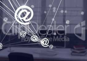 3D @ connected icons with dark office background