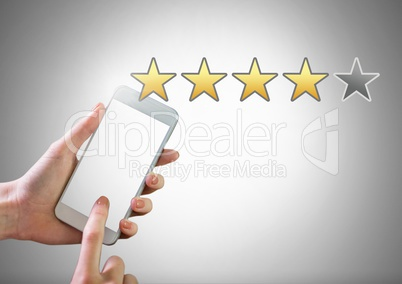 Hand touching phone with star ratings review