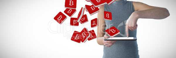 Composite image of mid section of businesswoman using digital tablet