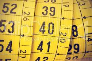 Tailor measuring tape close up.