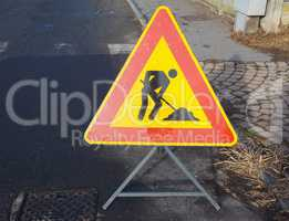 road works sign with copy space