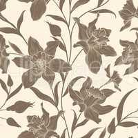 Floral seamless pattern. Flower doodle background. Floral engrav