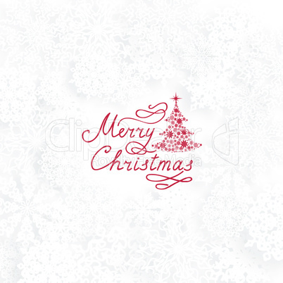 Christmas background, New Year Tree, Snow, Handwritten Greeting