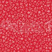 Christmas icons background, Happy Winter Holiday seamless tiling