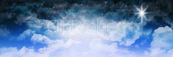 Blue Cloud Starry Sky Background. Christmas Winter Concept Illus