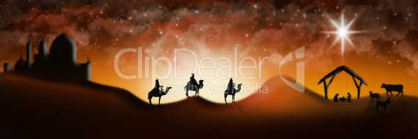 Christmas Nativity Scene Of Three Wise Men Magi Going To Meet Ba