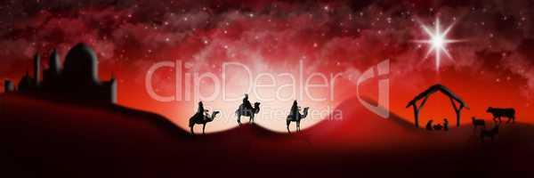 Christmas Nativity Scene Of Three Wise Men Magi Going To Meet Ba