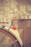 Retro bicycle wheel detail. Vintage style.
